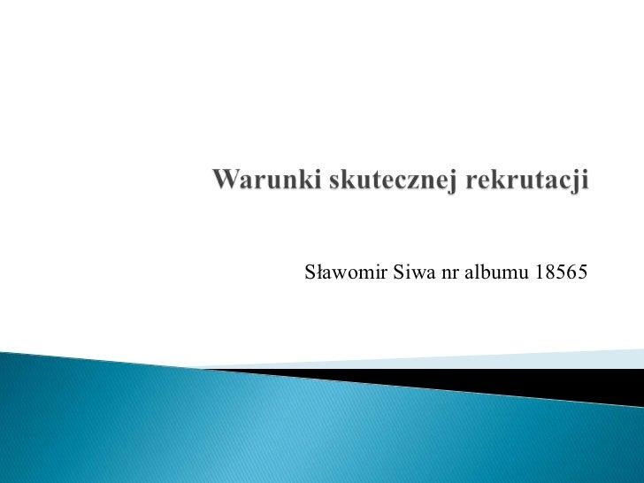 Sławomir Siwa nr albumu 18565