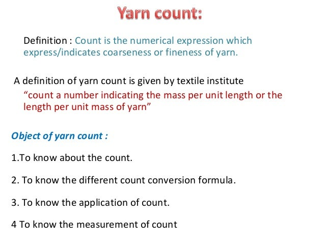 yarn numbering system Main focus of this assignment is given about the yarn count, system of count numbering, analytical system, quadrant balance, beesley balance, stubb yarn.