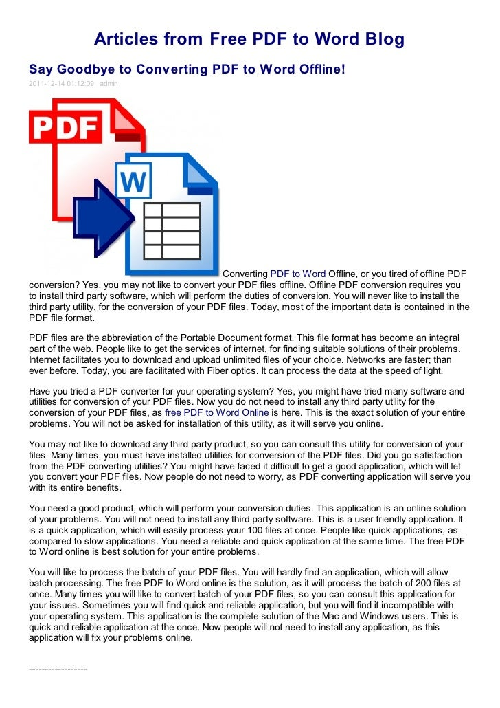 Say goodbye to converting pdf to word offline! free pdf to word blog