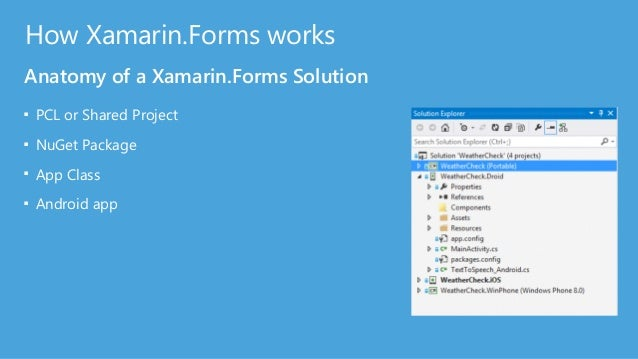 How Xamarin.Forms works Anatomy of a Xamarin.Forms Solution ■ PCL or Shared Project ■ NuGet Package ■ App Class ■ Android ...