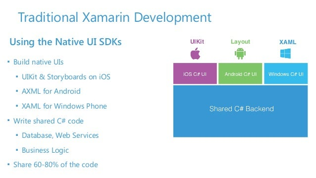 Traditional Xamarin Development Using the Native UI SDKs ■ Build native UIs ■ UIKit & Storyboards on iOS ■ AXML for Androi...