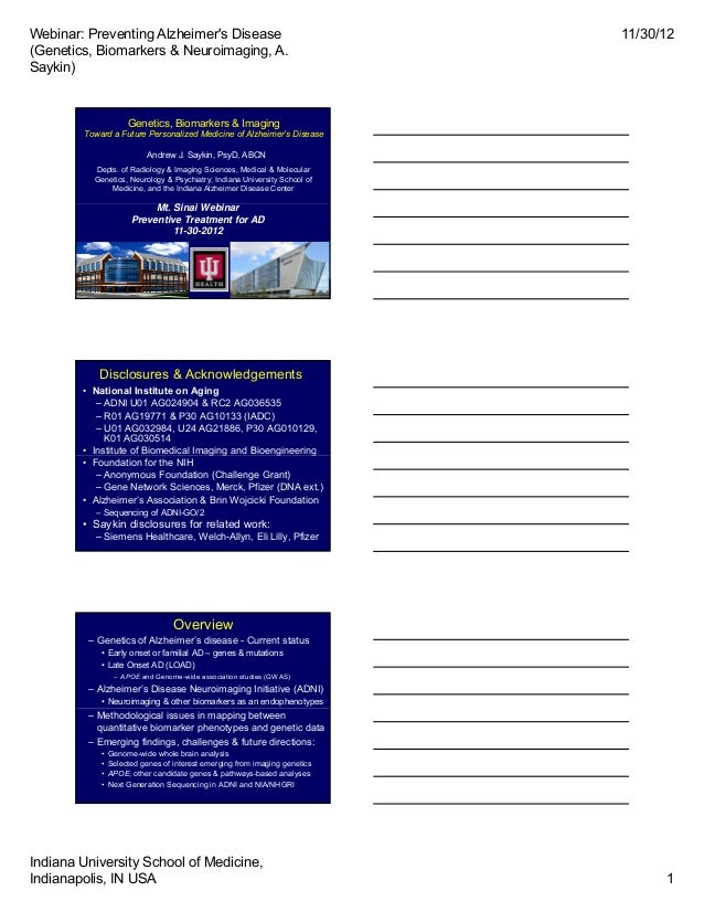 Webinar: Preventing Alzheimers Disease                                     11/30/12(Genetics, Biomarkers & Neuroimaging, A...