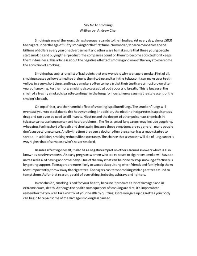 essay about bad effect of smoking