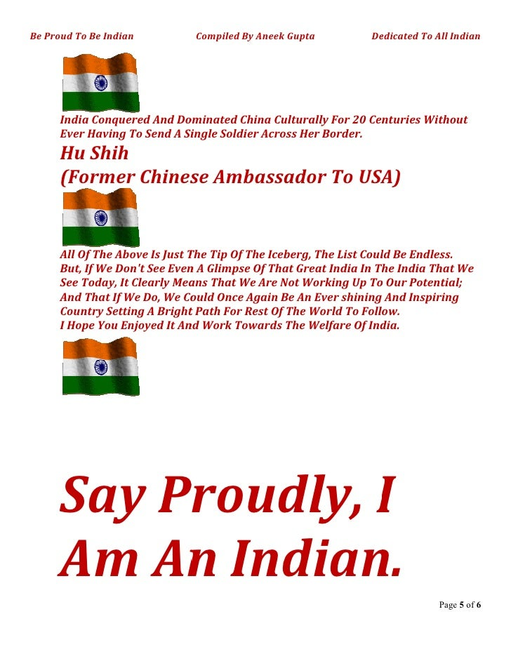 Say Proudly I Am An Indian Compiled By Aneek Gupta