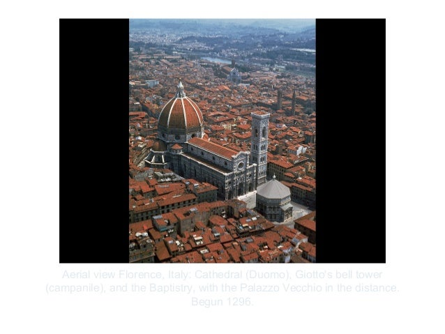 Copyright ©2012 Pearson Inc.Aerial view Florence, Italy: Cathedral (Duomo), Giottos bell tower(campanile), and the Baptist...