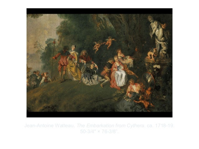 """Copyright ©2012 Pearson Inc.Jean-Antoine Watteau. The Embarkation from Cythera. ca. 1718-19.50-3/4"""" × 76-3/8""""."""