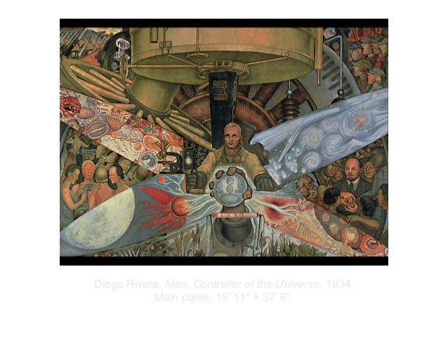 """Copyright ©2012 Pearson Inc.Diego Rivera. Man, Controller of the Universe. 1934.Main panel: 15' 11"""" × 37' 6""""."""
