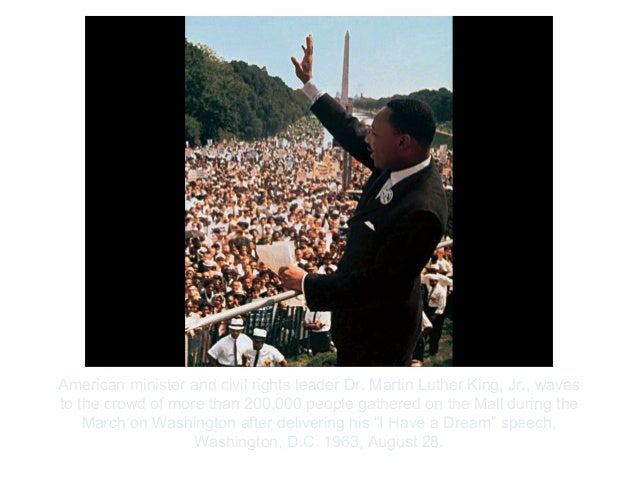 Copyright ©2012 Pearson Inc.American minister and civil rights leader Dr. Martin Luther King, Jr., wavesto the crowd of mo...