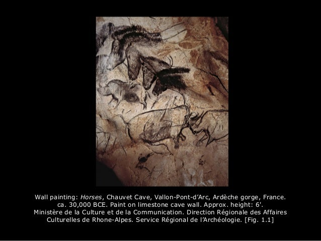 Wall painting: Horses, Chauvet Cave, Vallon-Pont-d'Arc, Ardèche gorge, France. ca. 30,000 BCE. Paint on limestone cave wal...