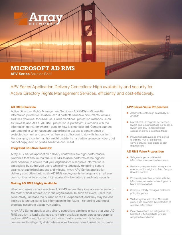 MICROSOFT AD RMS APV Series Solution Brief APV Series Application Delivery Controllers: High availability and security for...