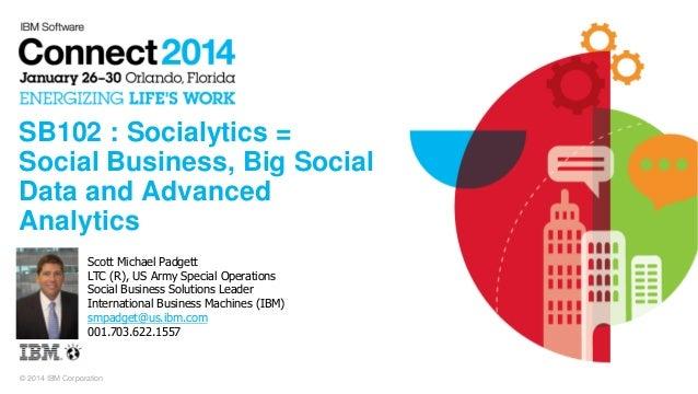 © 2014 IBM Corporation SB102 : Socialytics = Social Business, Big Social Data and Advanced Analytics Scott Michael Padgett...