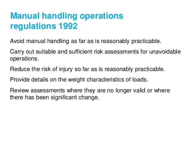 manual handling guidelines and regulations