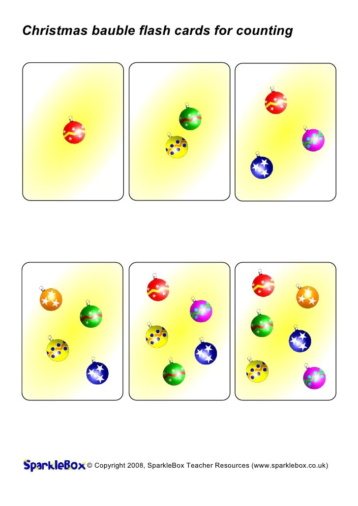 Christmas bauble flash cards for counting         © Copyright 2008, SparkleBox Teacher Resources (www.sparklebox.co.uk)