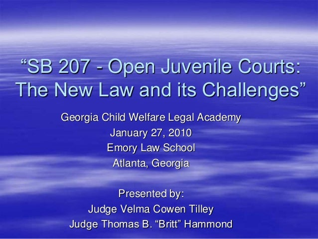 """SB 207 - Open Juvenile Courts: The New Law and its Challenges"" Georgia Child Welfare Legal Academy January 27, 2010 Emory..."