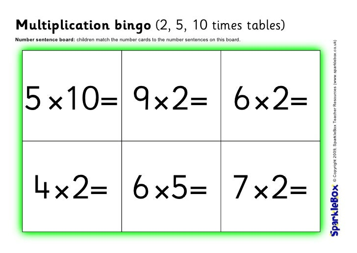 Multiplication bingo (2, 5, 10 times tables)Number sentence board: children match the number cards to the number sentences...