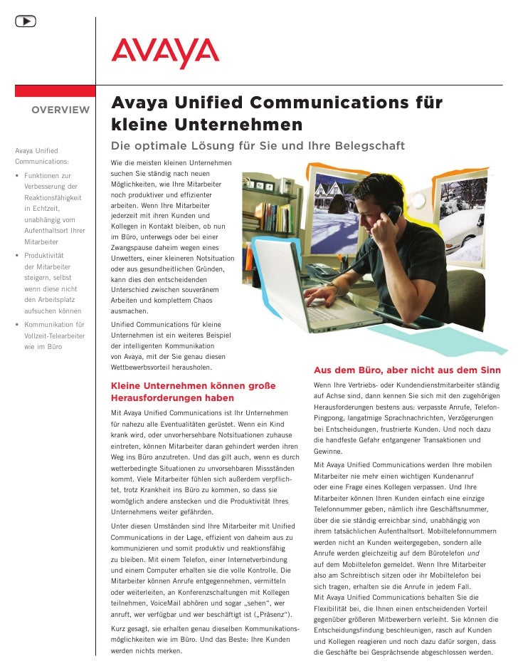 OVERVIEW              Avaya Unified Communications für                           kleine Unternehmen Avaya Unified         ...