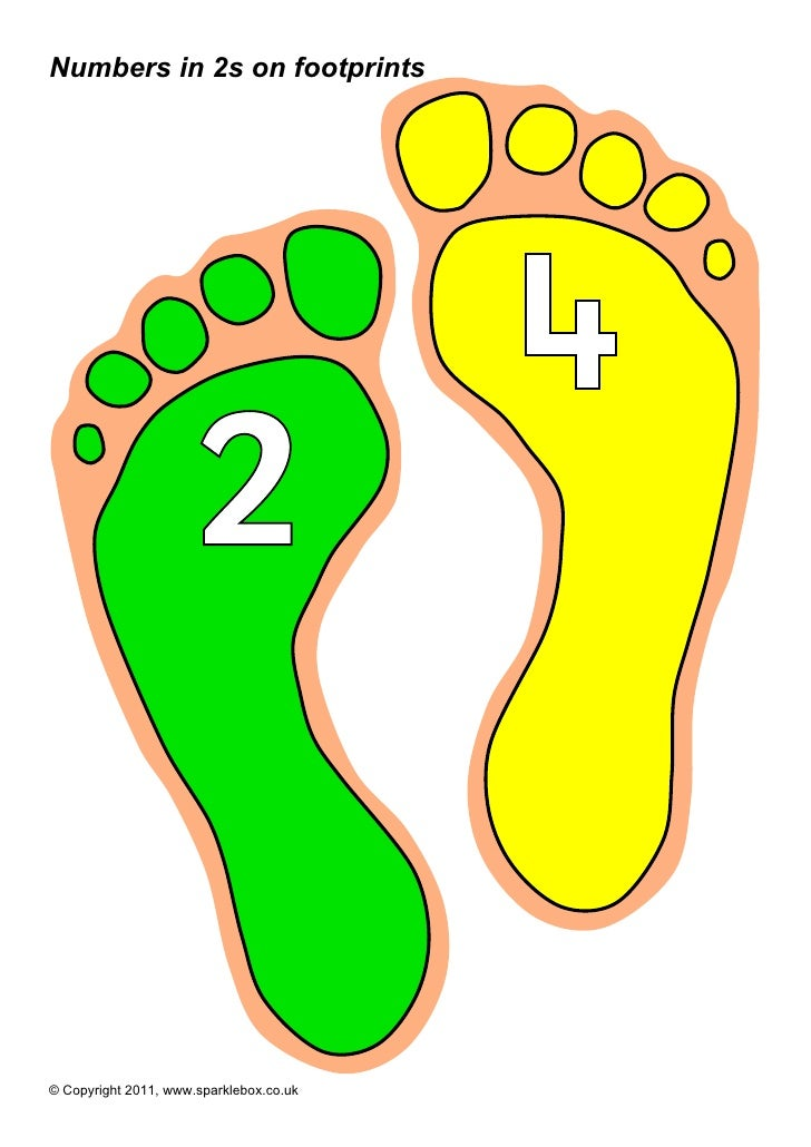 Numbers in 2s on footprints                                         4                      2© Copyright 2011, www.sparkleb...