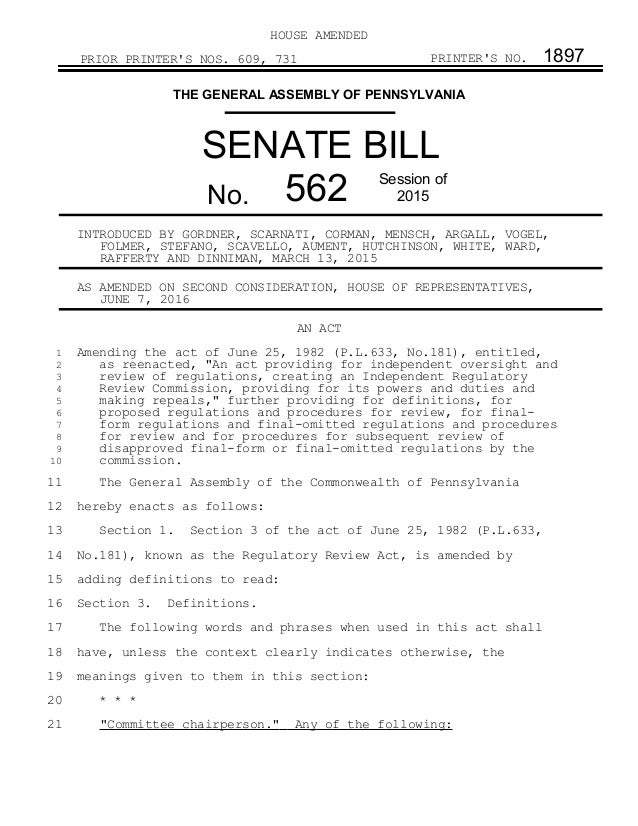 PA Senate Bill (SB) 562 - Increases Legislative Oversight of Environm…