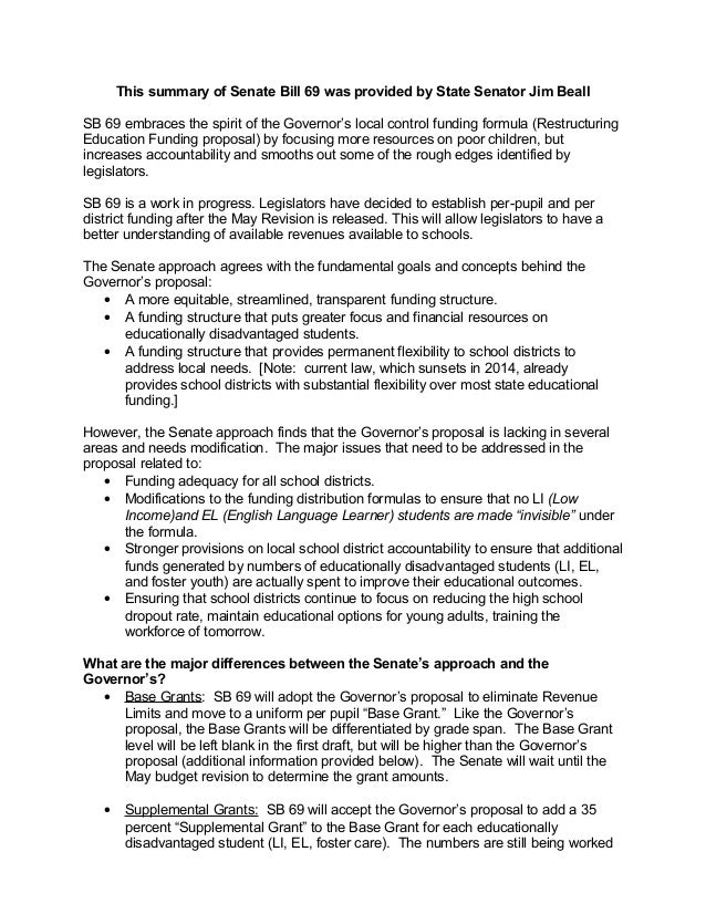 This summary of Senate Bill 69 was provided by State Senator Jim BeallSB 69 embraces the spirit of the Governor's local co...