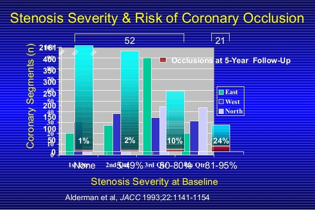 Stenosis Severity & Risk of Coronary Occlusion 0 10 20 30 40 50 60 70 80 90 100 1st Qtr 2nd Qtr 3rd Qtr 4th Qtr East West ...
