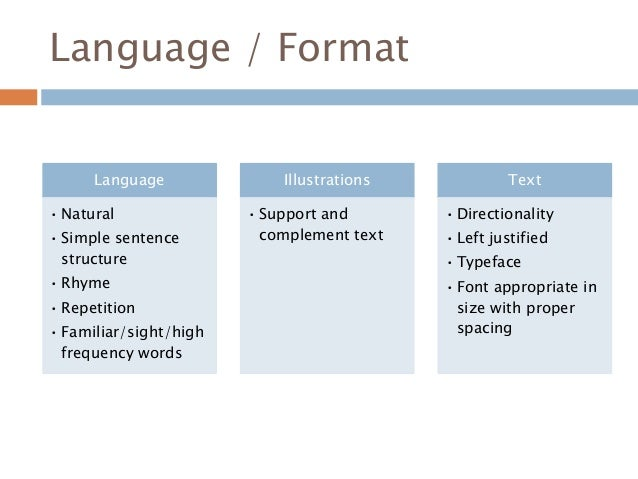 Language / Format Language • Natural • Simple sentence structure • Rhyme • Repetition • Familiar/sight/high frequency word...