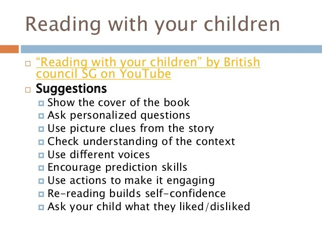 """Reading with your children  """"Reading with your children"""" by British council SG on YouTube  Suggestions  Show the cover ..."""