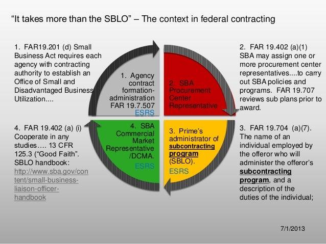"""It takes more than the SBLO"" – The context in federal contracting 2. SBA Procurement Center Representative 3. Prime's adm..."