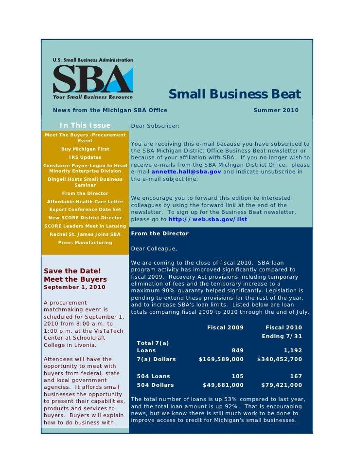 SBA - Small Bus Beat - Summer 2010