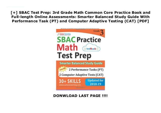 SBAC Test Prep 3rd Grade Math Common Core Practice Book And