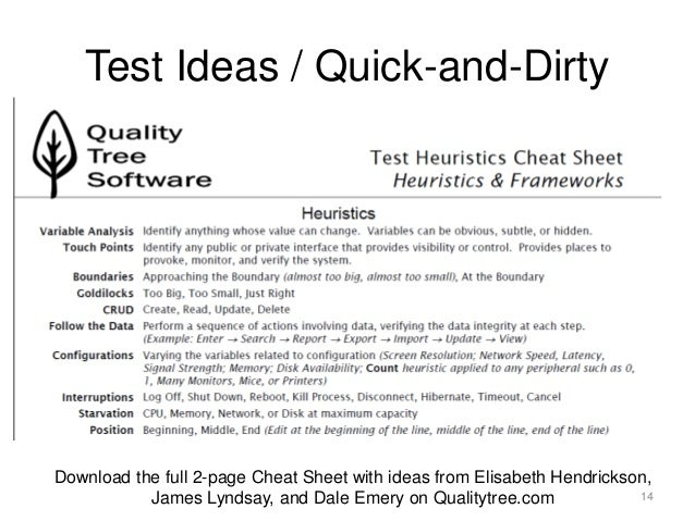 Testing heuristics cheat sheet