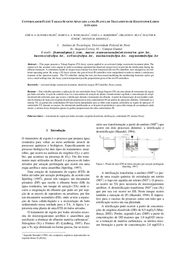 CONTROLADOR FUZZY TAKAGI-SUGENO APLICADO A UMA PLANTA DE TRATAMENTO DE ESGOTO POR LODOSATIVADOSJOSÉ H. S. OLIVEIRA FILHO1,...