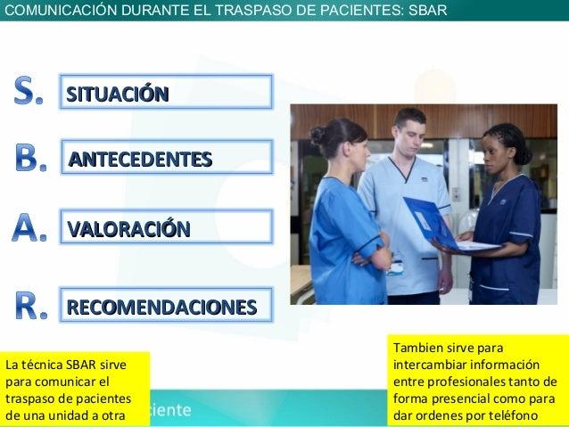 COMUNICACIÓN DURANTE EL TRASPASO DE PACIENTES: SBAR          SITUACIÓN          ANTECEDENTES          VALORACIÓN          ...