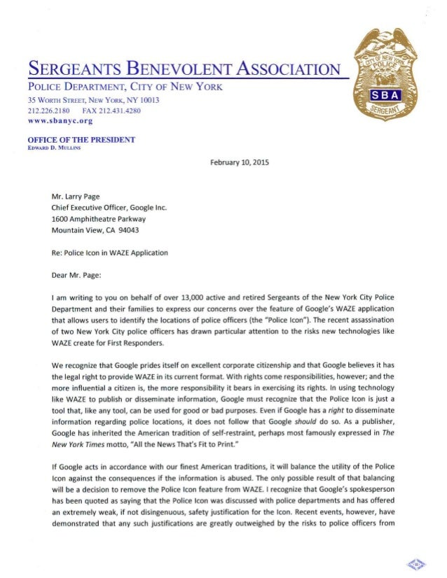 Mullins SBA ficial Letter to the CEO of Google on the Waze APP