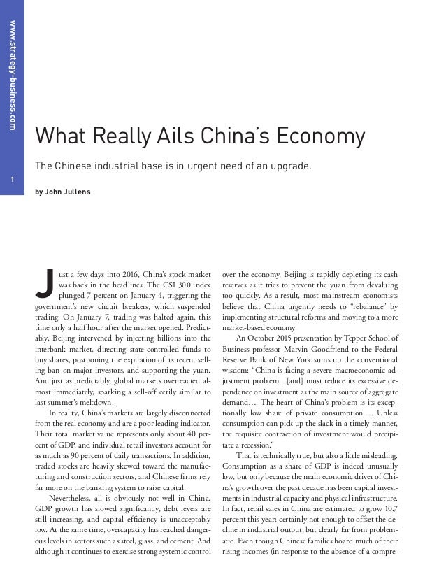 www.strategy-business.com 1 over the economy, Beijing is rapidly depleting its cash reserves as it tries to prevent the yu...