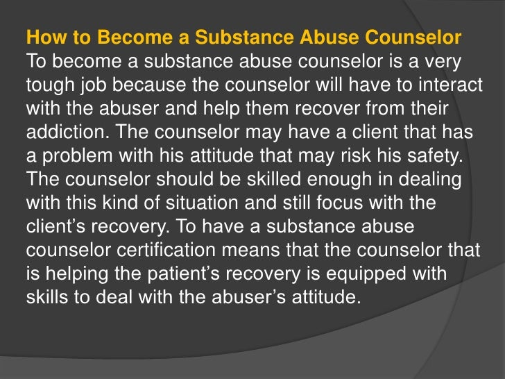 how to become a counselor for substance abusers, Human Body