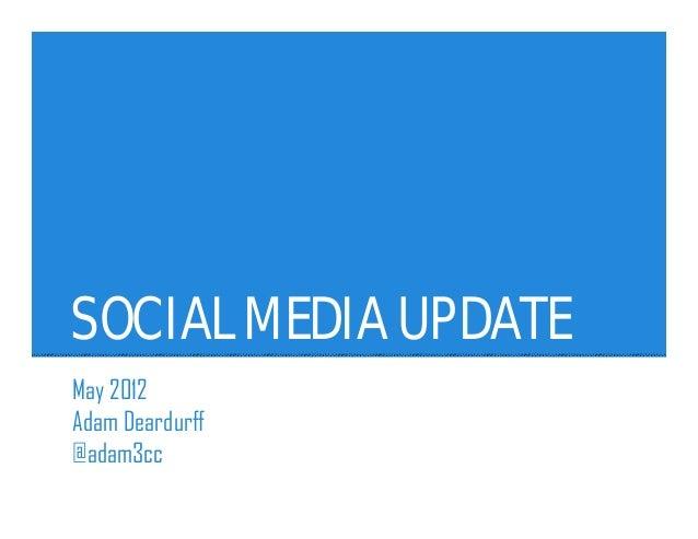 SOCIAL MEDIA UPDATEMay 2012Adam Deardurff@adam3cc