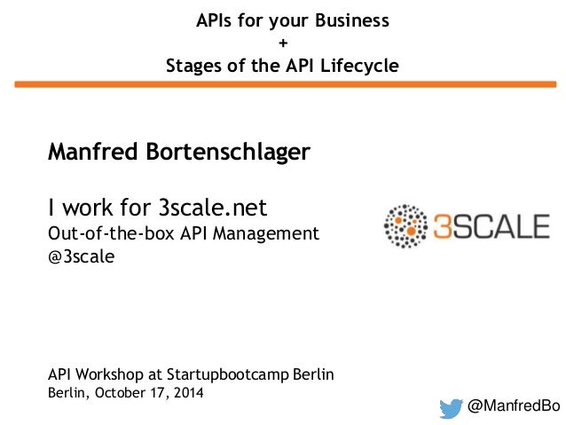 @ManfredBo  APIs for your Business  +  Stages of the API Lifecycle  Manfred Bortenschlager  I work for 3scale.net  Out-of-...