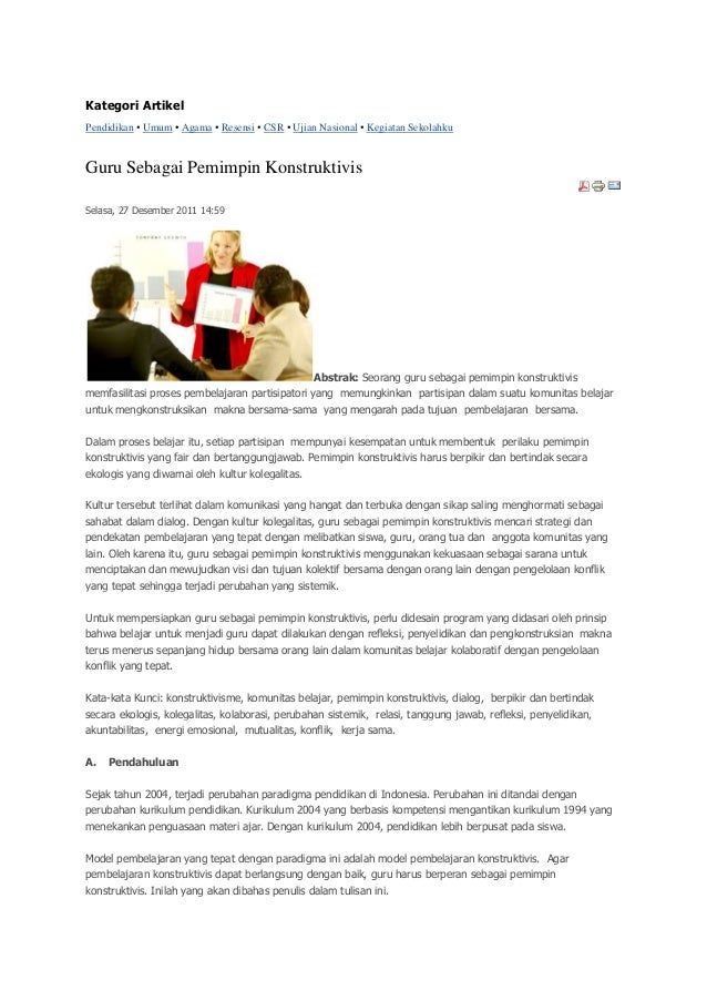 Kategori ArtikelPendidikan • Umum • Agama • Resensi • CSR • Ujian Nasional • Kegiatan SekolahkuGuru Sebagai Pemimpin Konst...
