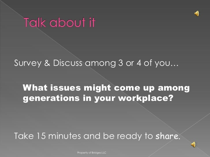 Survey & Discuss among 3 or 4 of you…  What issues might come up among  generations in your workplace?Take 15 minutes and ...