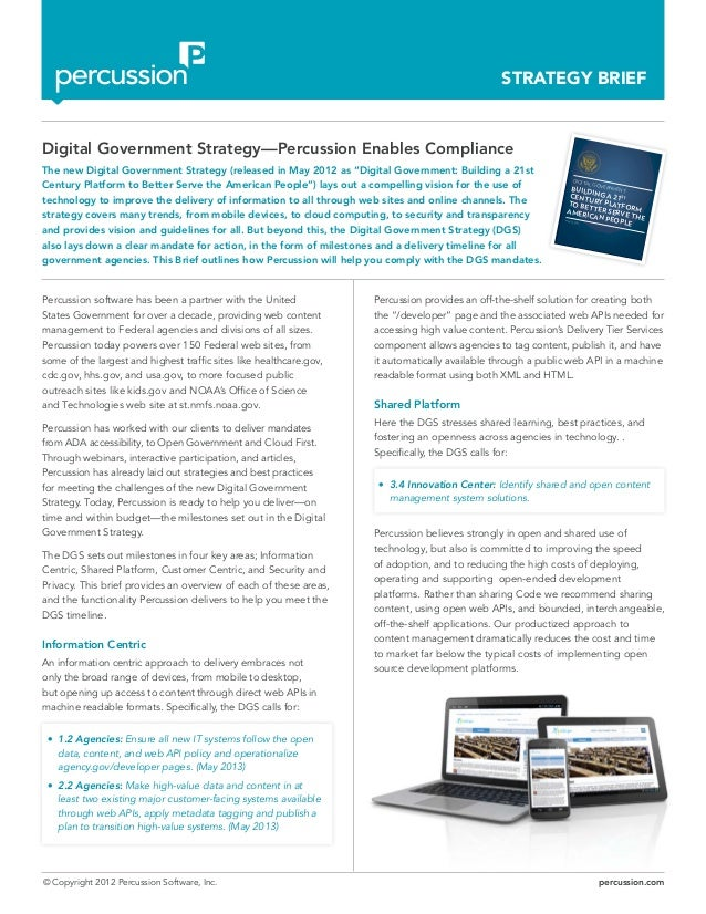 © Copyright 2012 Percussion Software, Inc. percussion.com STRATEGY BRIEF Percussion software has been a partner with the U...