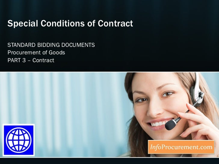 Special Conditions of Contract STANDARD BIDDING DOCUMENTS Procurement of Goods PART  3  –  Contract