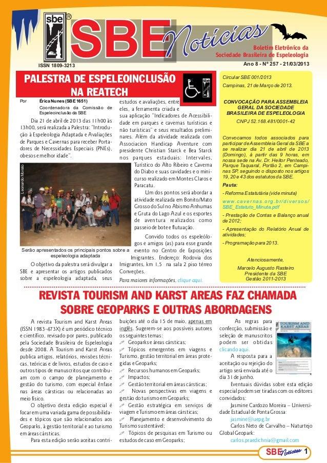 R                               SBE                  ISSN 1809-3213              PALESTRA DE ESPELEOINCLUSÃO              ...