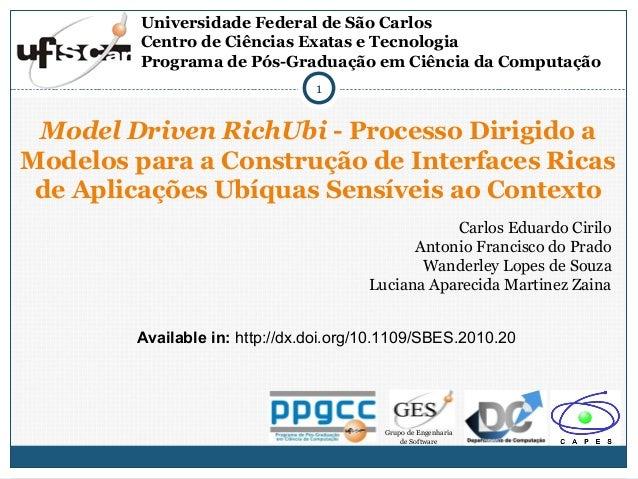 Universidade Federal de São Carlos Centro de Ciências Exatas e Tecnologia Programa de Pós-Graduação em Ciência da Computaç...