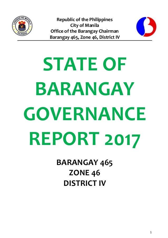 Barangay 465, Zone 46 State of Barangay Governance
