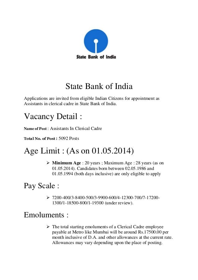 state bank of india clerk exam date 2014