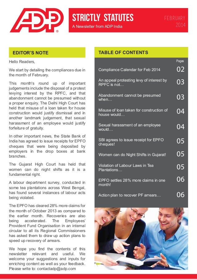 STRICTLY STATUTES A Newsletter from ADP India  EDITOR'S NOTE  FEBRUARY 2014  TABLE OF CONTENTS Pages  Hello Readers, We st...