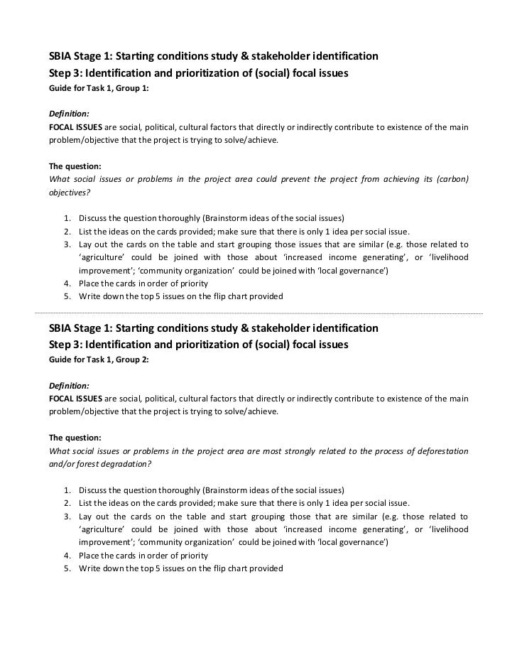 SBIA Stage 1: Starting conditions study & stakeholder identificationStep 3: Identification and prioritization of (social) ...