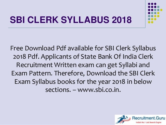 Sbi Clerk Exam Syllabus Pdf