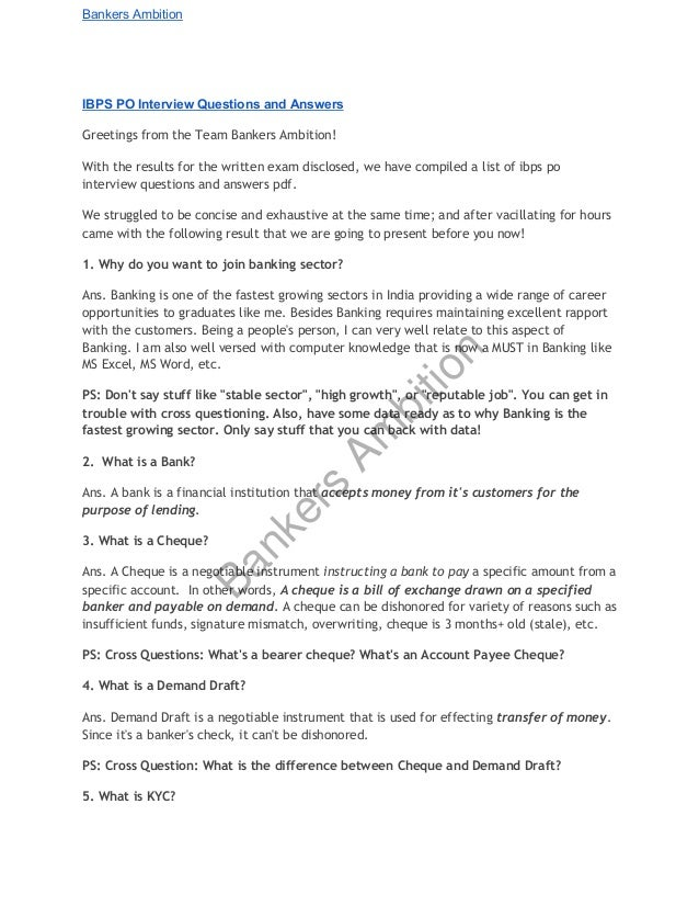 Exceptional Bankers Ambition IBPS PO Interview Questions And Answers Greetings From The  Team Bankers Ambition!