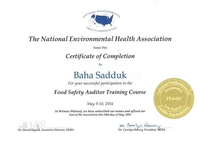 Food Safety Auditor Training Certificate